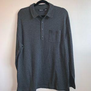Men's Claiborne long sleeve grey polo shirt